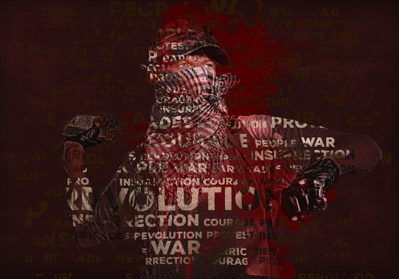 Man holding stone in a hand. Digitally generated image. Conceptual photo of revolution and war Anarchy Collage Concept Conceptual Conflict Digital Art Digitally Generated Font Hooligan Illustration Man Opposition People Print Protest Revolution Riot Terrorism Terrorist Text War Words