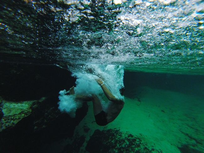 When motion meets water Freshwater Mexicanriviera River Crystal Clear Waters Crystal Cenote Summertime Ocean Photography Power In Nature Backflip Swimming Diving Slomotion Burst