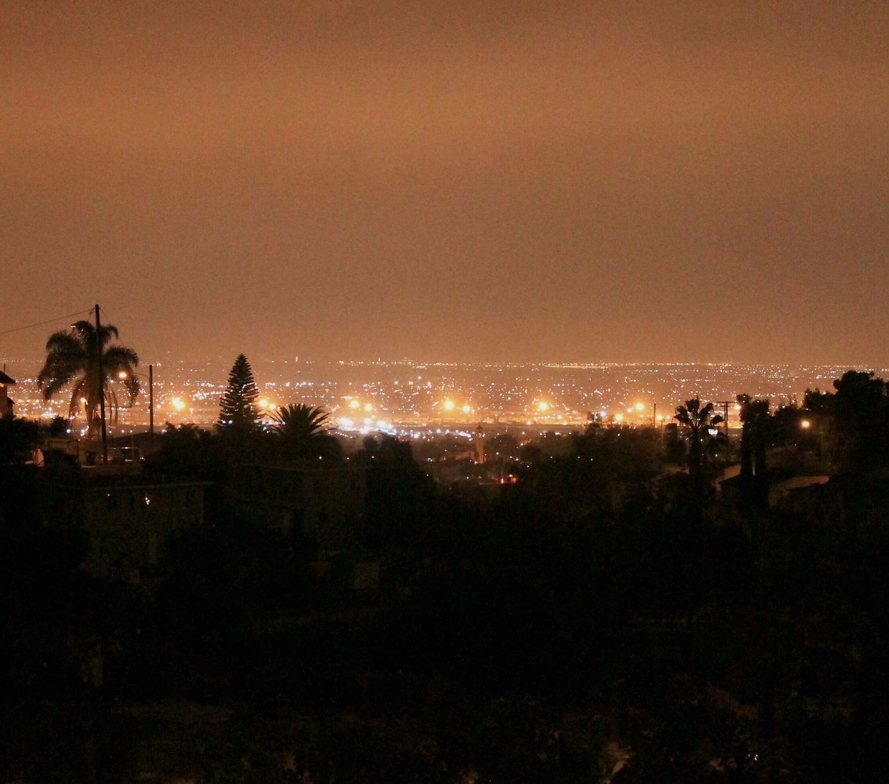 Contrast Night Silhouette Outdoors Sky Tree Nightphotography Citylife Losangeles Illuminated City Naturalcolor  Lights At Night Palm Tree Hazy  Onthehorizon Inthedistance Freshness Beauty In Nature Adapted To The City Orange Sky The City Light EyeEmNewHere