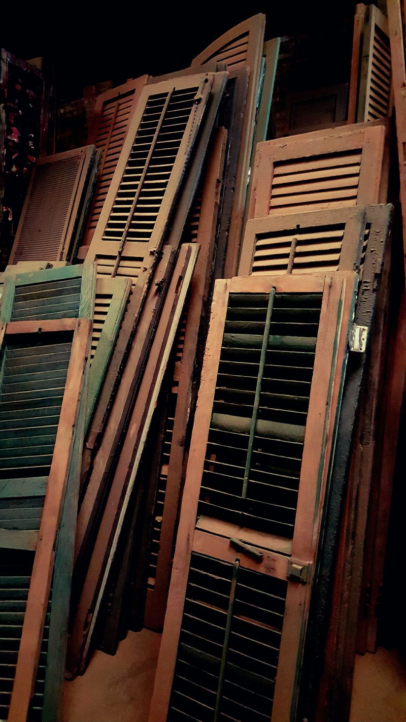 Design Detail In A Row Old Shutters Re Us Recycle Repetition Salvage Shutter Textured  Upcycle Urban Victorian Wood Salvag Wood Shutters