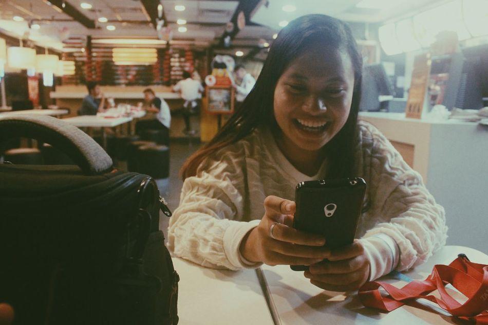 Mobile Conversations Photography Jabez Portrait Of A Friend Candidshot Phonesms Conversation Fastfood McDonald's Filipina