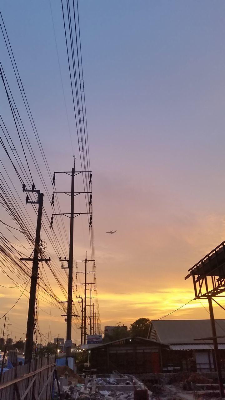 sunset, orange color, cable, sky, connection, no people, built structure, transportation, outdoors, electricity pylon, nature, building exterior, technology, architecture, day