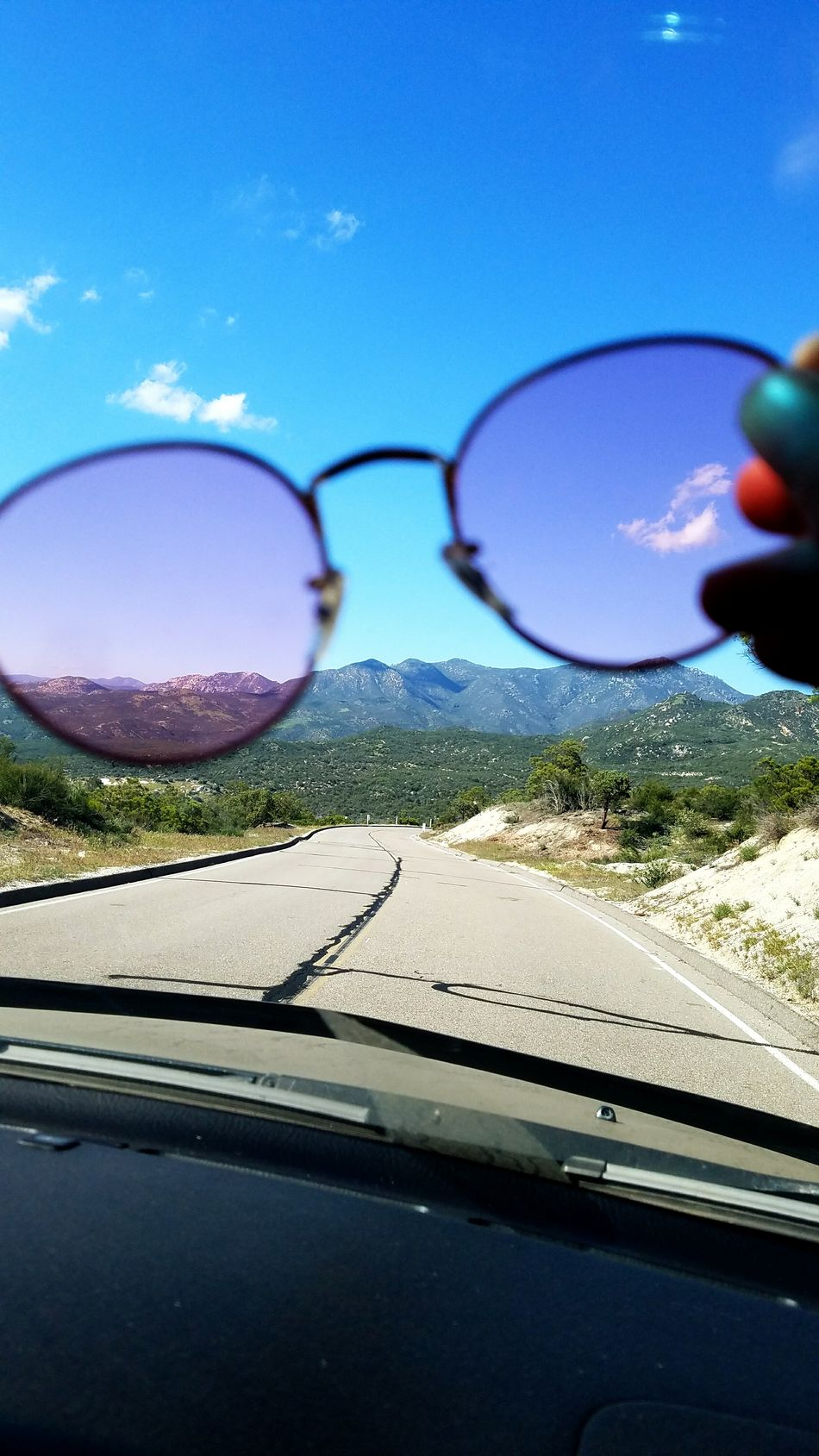 Nature Road Day Sky Car Sun Sunglasses Pink Rosy Rose Colored Glasses Driving Mountain Ramona California Travel Millennial Pink