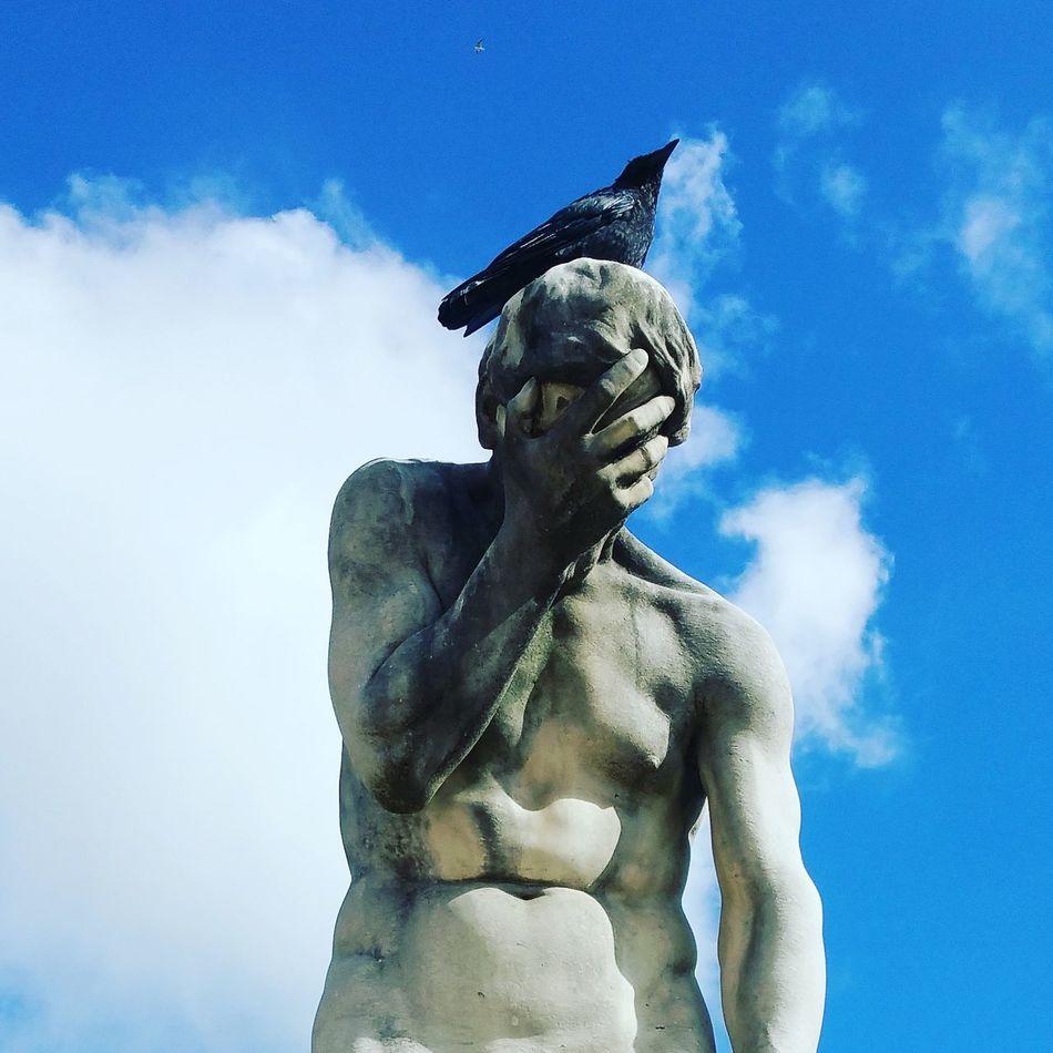 Don't let the Birds get your Eyes September 2015 Statue Art Blue Sky
