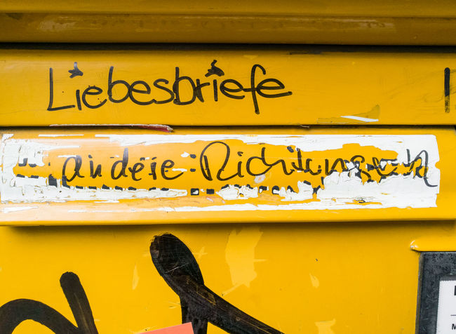 Berlin Berliner Ansichten Built Structure City Close-up Communication Day Handwriting  Horizontal Liebesbriefe Loveletters No People Outdoors Postbox Text Yellow