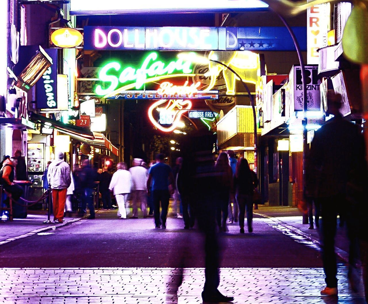 Street Men Person Walking City Architecture Building Exterior Road Group Of People Lifestyles Built Structure City Life Leisure Activity Store Illuminated Casual Clothing Night Pedestrian City Street Advertisement Nightphotography Night Lights Party Lights Redlightdistrict Reeperbahn