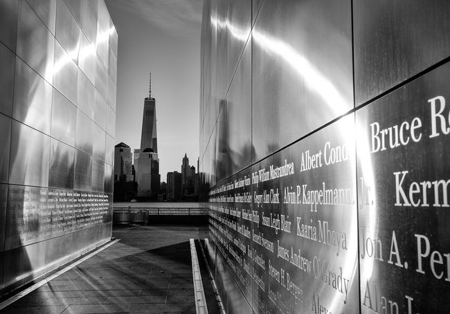 9-11 Blackandwhite Empty Sky Freedom Tower Jersey City Manhattan Monument One World Trade Center Reflection