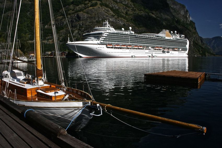 Old and New. Flam Norway Achorage Cruise Ship Fjord Harbour Mode Of Transport Outdoors Sun Tranquil Transportation Water