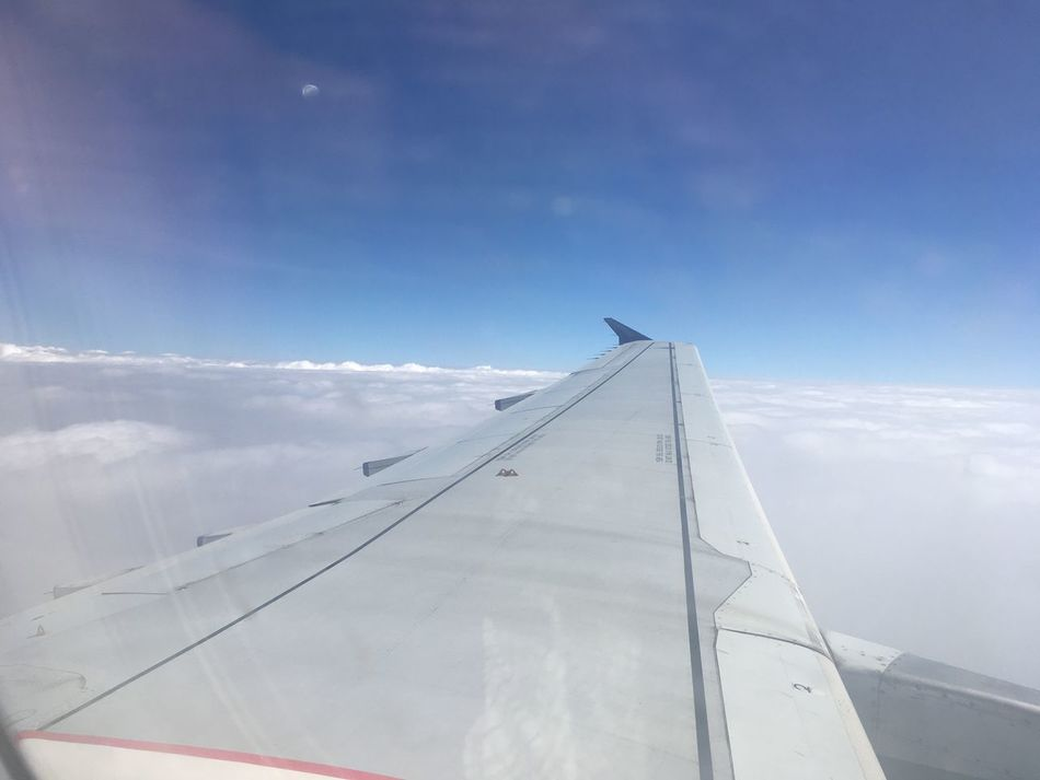 Sky Airplane Cloud - Sky Day Transportation No People Outdoors Journey Low Angle View Airplane Wing Flying Nature Air Vehicle Unedited
