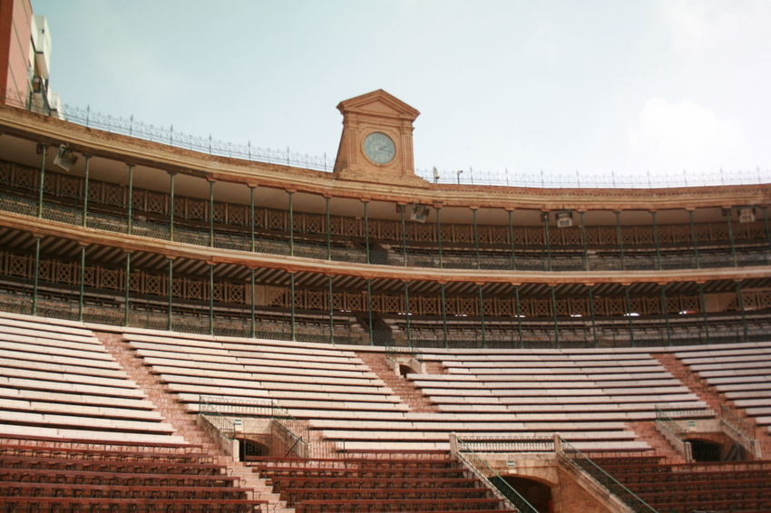 I am not fond of bull fighting that is why this is my first time inside the Valencian Bull Ring. Architecture Built Structure Bull Ring Bull Ring Spain Clock History Plaza De Toros Plaza De Toros , Valencia Rostrum Travel Destinations