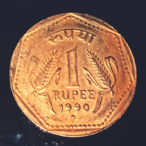 Coin Close-up Currency Oldcurrency India India 1₹ Rs One Rupee 1990s