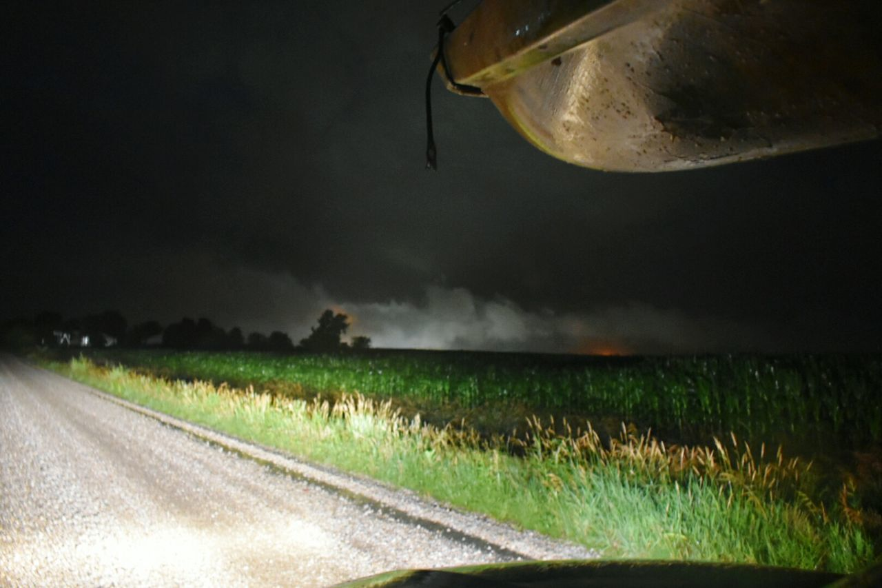 Night Rural Scene Thunderstorm POV From Moving Car Iowa Extreme Weather Kayak Kayaking