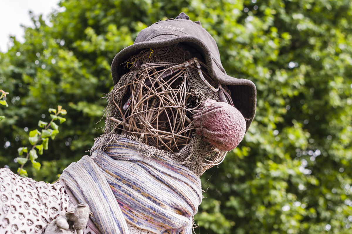 On a farm Close-up Creativity Day Farm Life Focus On Foreground Formal Garden Green Green Color Growth HEAD Nature No People Outdoors Plant Puppet Scarecrow Scruff Strawman