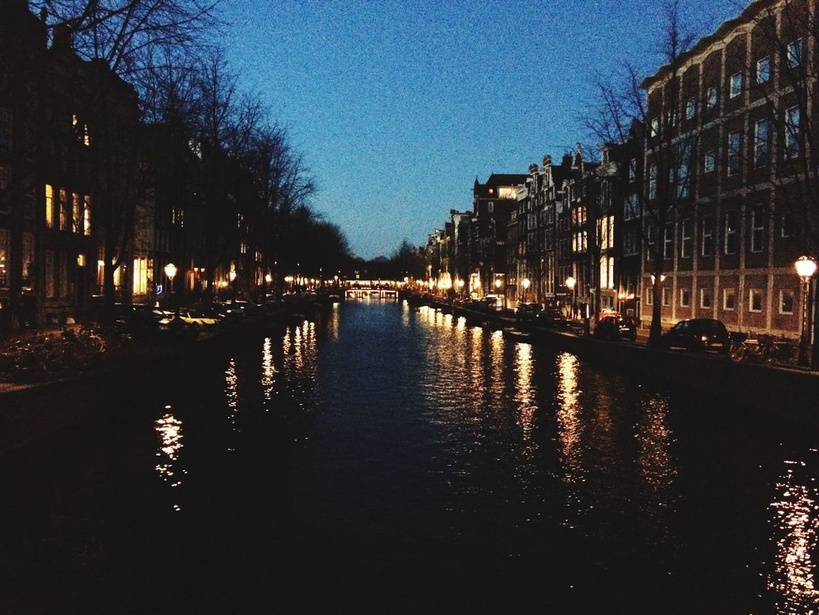 Amsterdam by night Amsterdam Holland Keizersgracht Water Night Lights Canal Bridge View Reflection