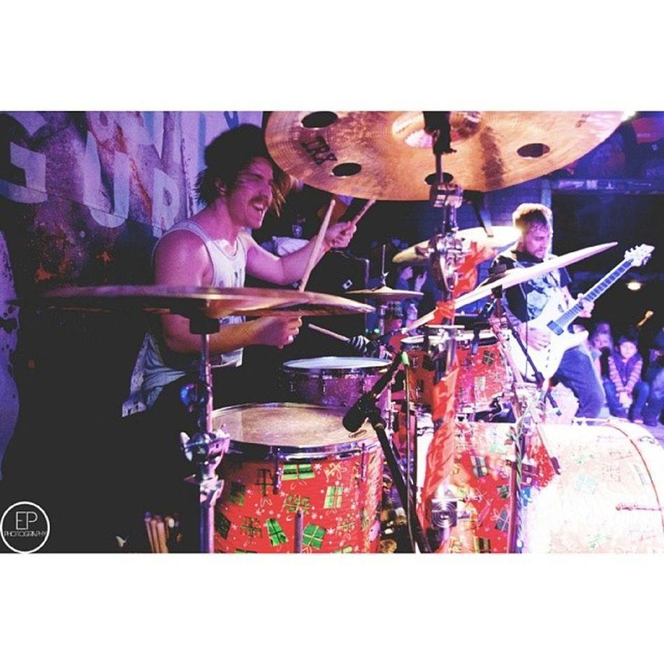 hijoeenglish and the secrets guys were feeling festive...right down to the drums. #holidays #drummer #cutedrums #lol #otcpress #epphotography #secrets #riserecords #joeenglish #english #joe #sweg