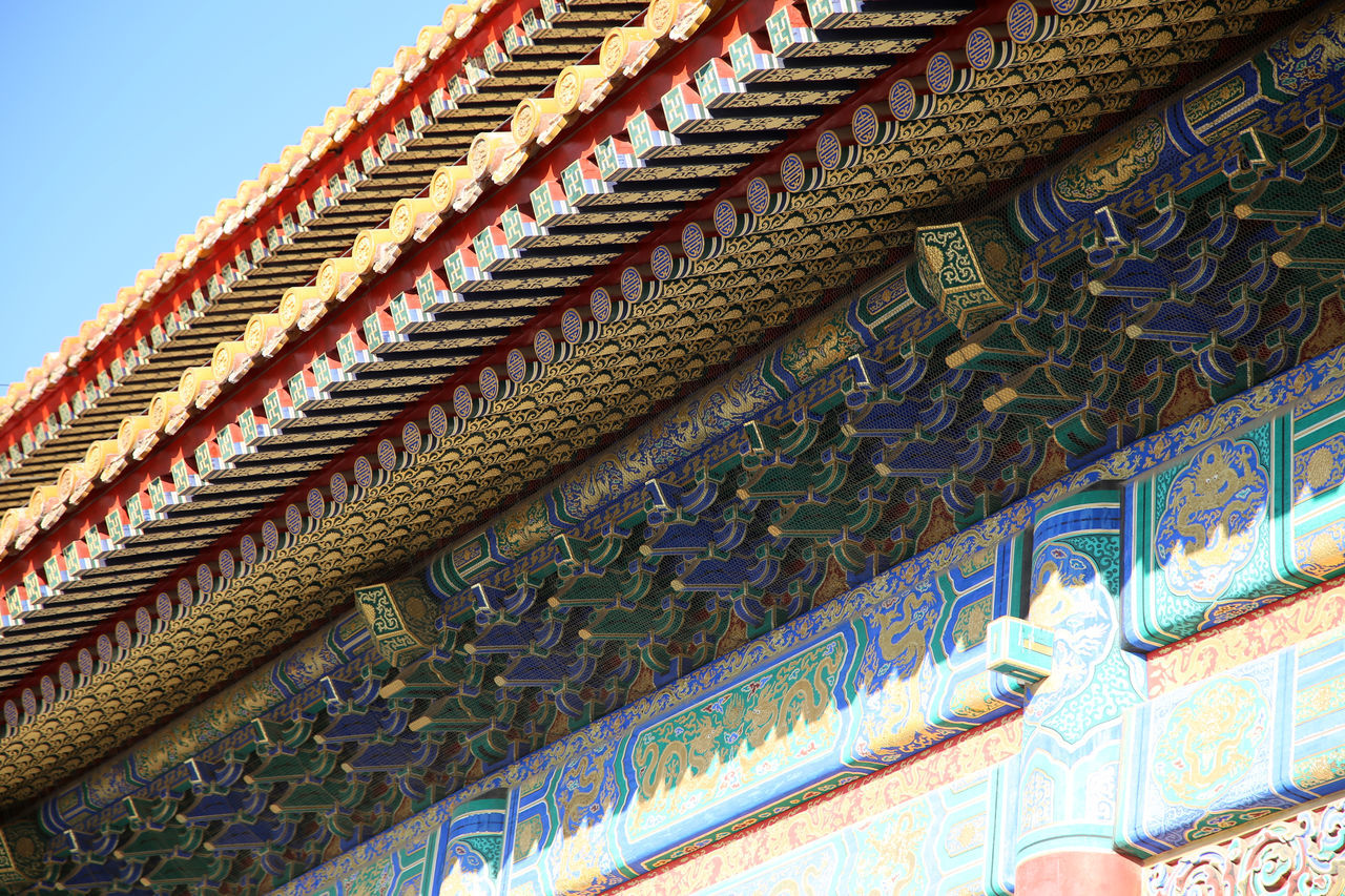 Detail of a Pagoda Palace, Forbidden City, Beijing. Architecture Blue Built Structure Day Gold Colored Low Angle View Multi Colored No People Outdoors Place Of Worship Sky Turtle Statue Close-up Qing Dynasty Scenics Verbotene Stadt Tourism Forbidden City, Beijing, China Forbidden City Forbbiden City Travel Destinations Gate Of Heavenly Peace Horizontal Travel Arts Culture And Entertainment
