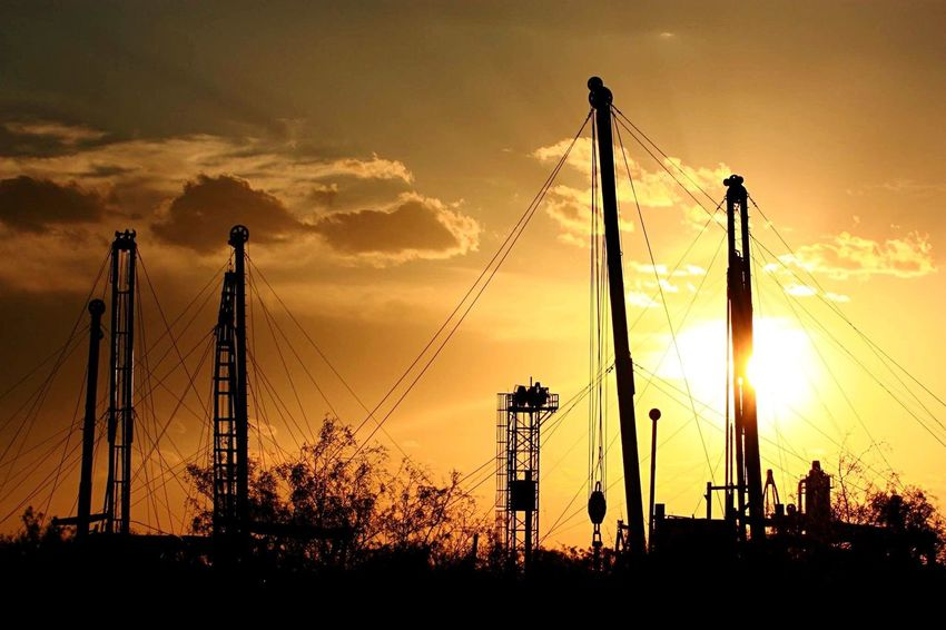 Sunset Silhouette Sky Orange Color Sun Petroleum Museum Midland, TX Oilfield Equipment