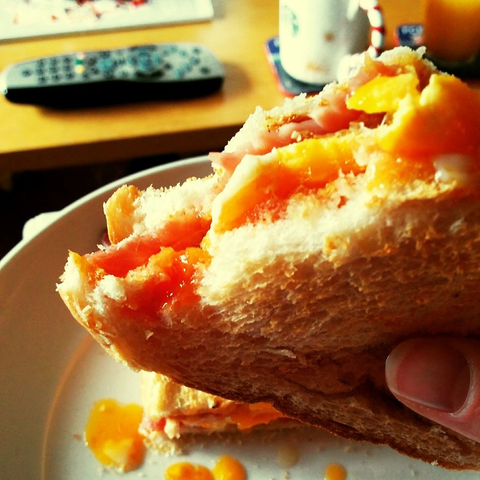 Heaven is a lazy Sunday with a bacon and egg buttie Lazysunday