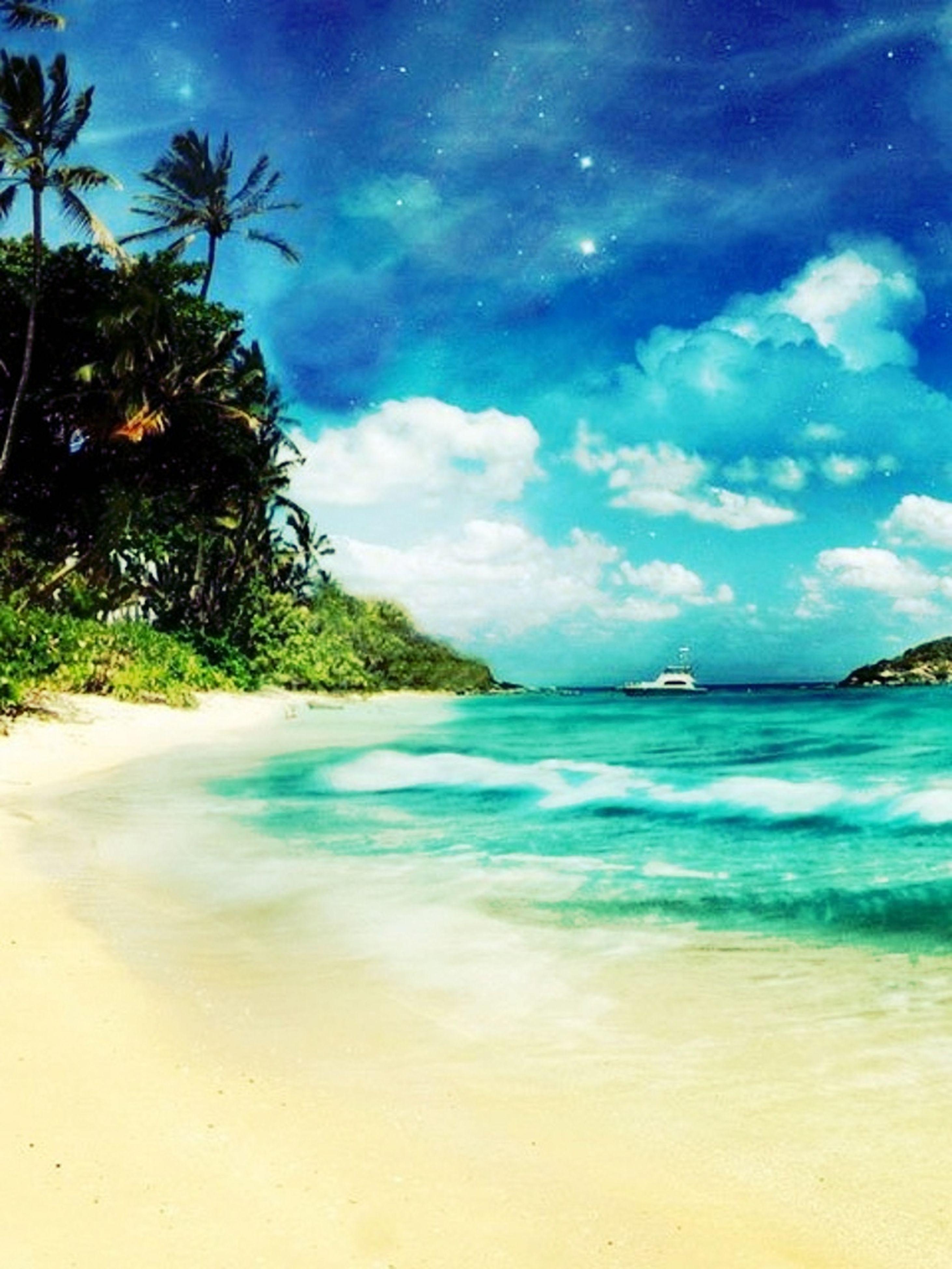 sea, water, beach, sky, palm tree, blue, tranquil scene, tranquility, scenics, tree, beauty in nature, shore, sand, horizon over water, cloud - sky, nature, cloud, idyllic, coastline, outdoors