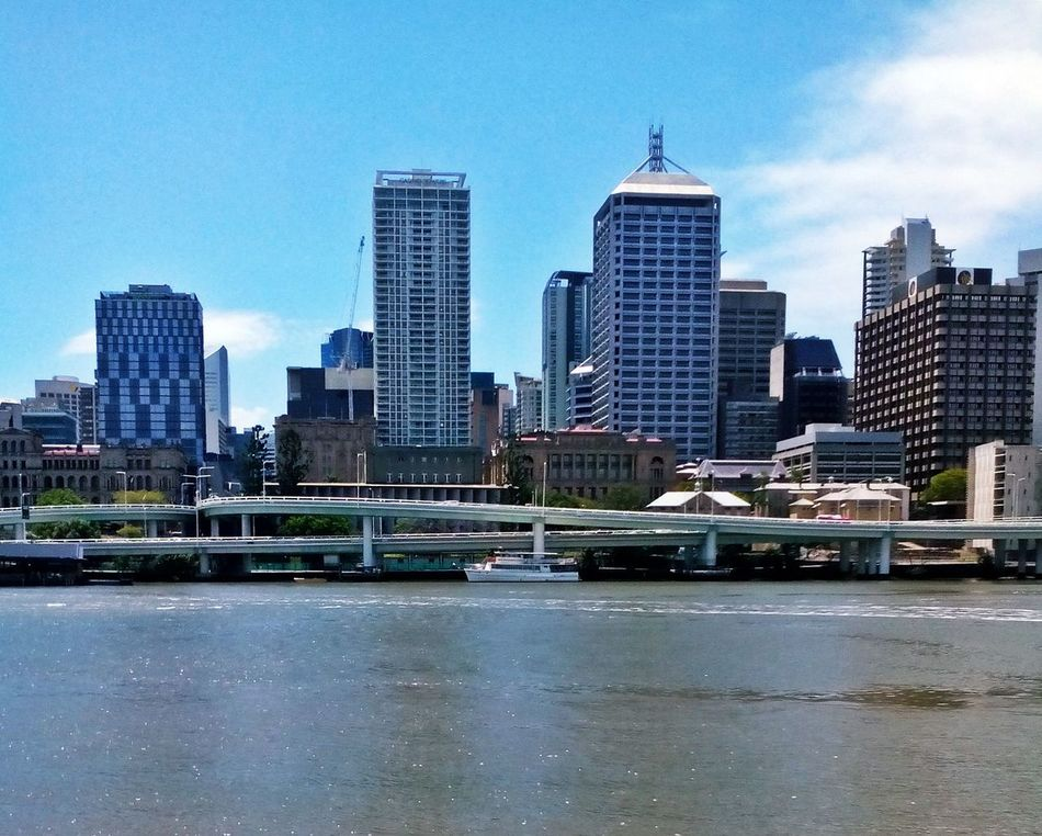 Architecture Blue Brisbane Brisbane River Building Exterior Built Structure City Cityscape Clear Sky Day Mode Of Transport Modern No People Office Park Outdoors River Sky Skyscraper Transportation Urban Skyline Water Adapted To The City
