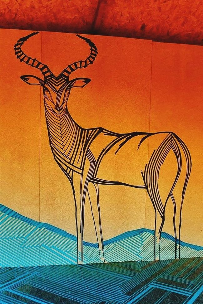 Impala antelope created with tape Tape Art TAPE OVER Getting Inspired Urban Art