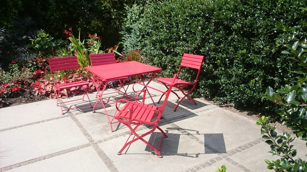 Chair Day Nature No People Outdoors Red Tee Time Tree
