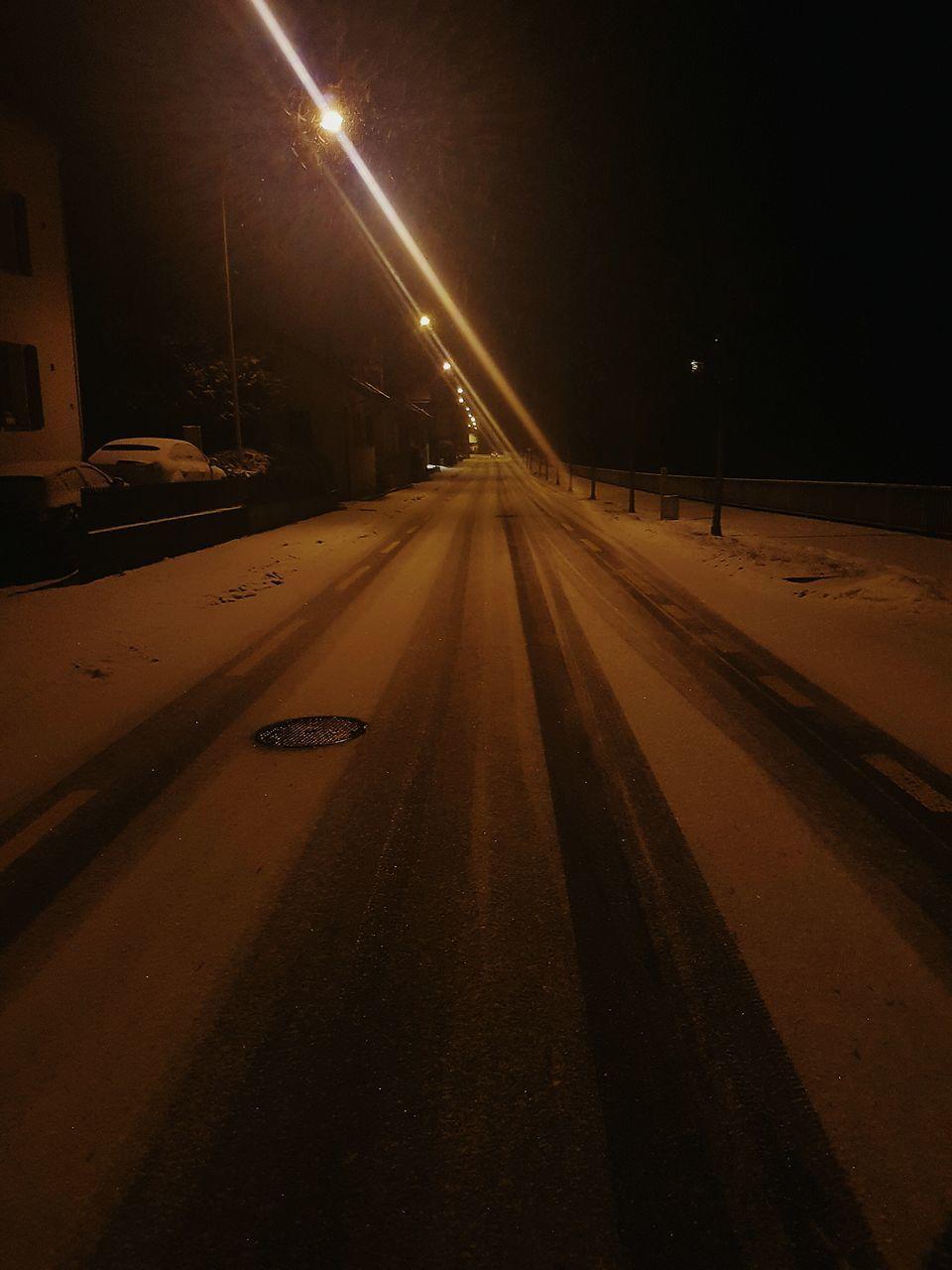 transportation, night, illuminated, car, the way forward, no people, road, land vehicle, street light, winter, outdoors, cold temperature, snow, nature, sky