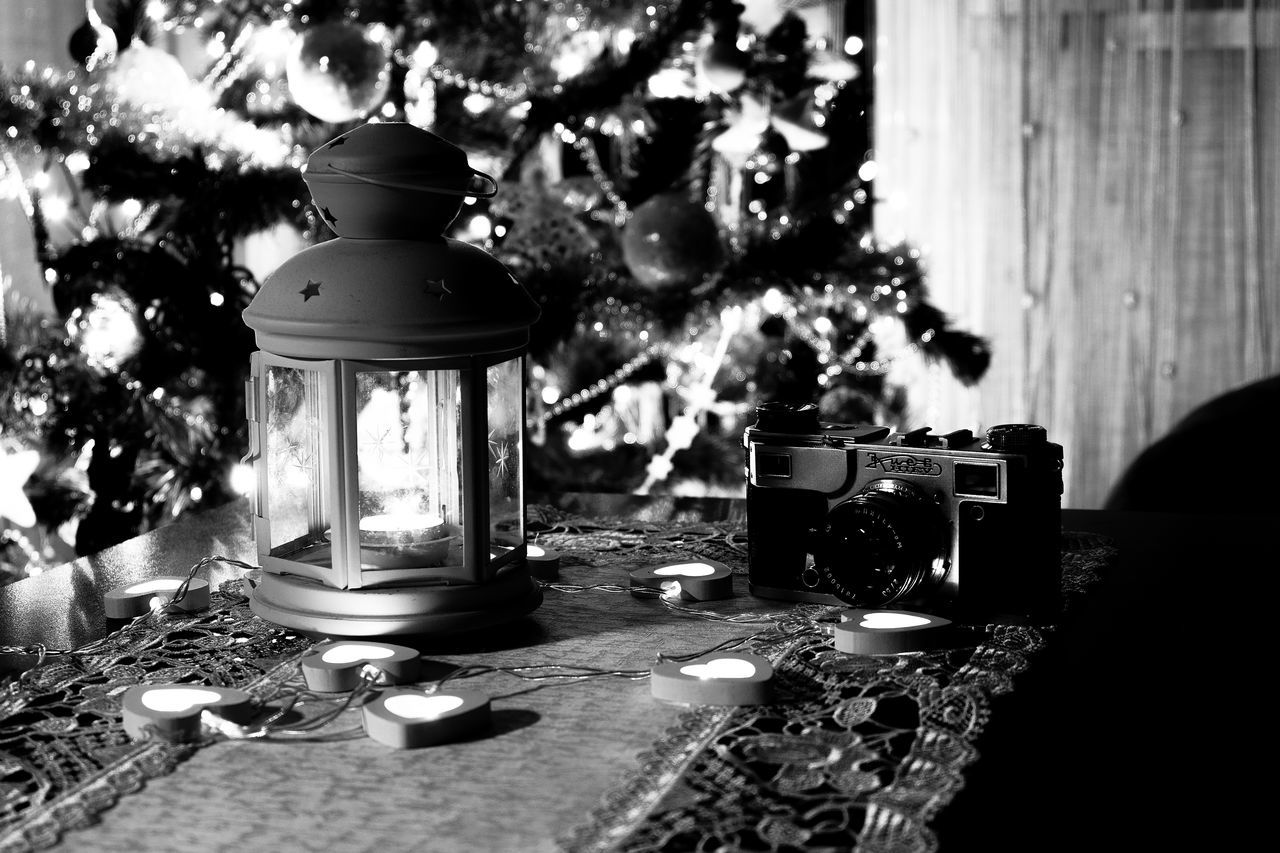 Black & White Black And White Camera Candle Candle Light Celebration Close-up From My Point Of View Fujifilm FUJIFILM X-T10 Illuminated Indoors  No People Old Camera Table Tree Wasiak