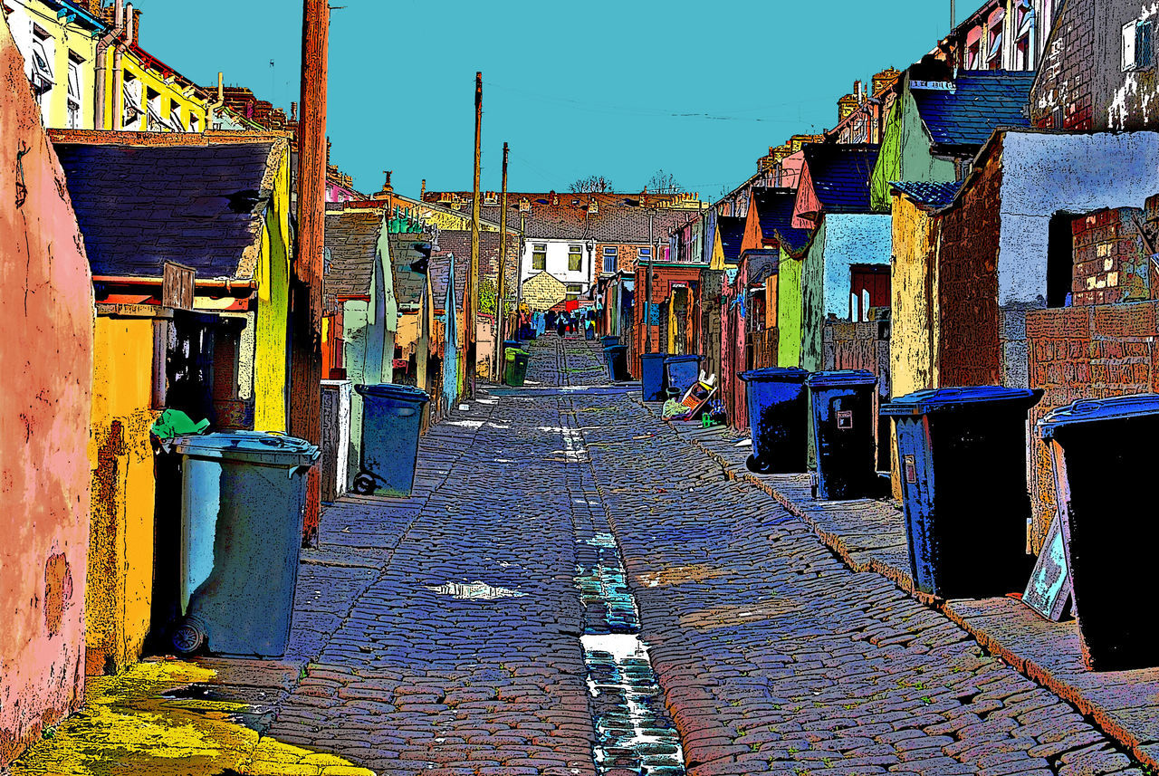 Alley Architecture Avenue Bins Building Exterior Built Structure City Cobblestone Colorful Day Deprived Area England, UK Location No People Outdoors Painting Regeneration Rubbish Sky Stylised Sunlight The White House Trash Urban Washing