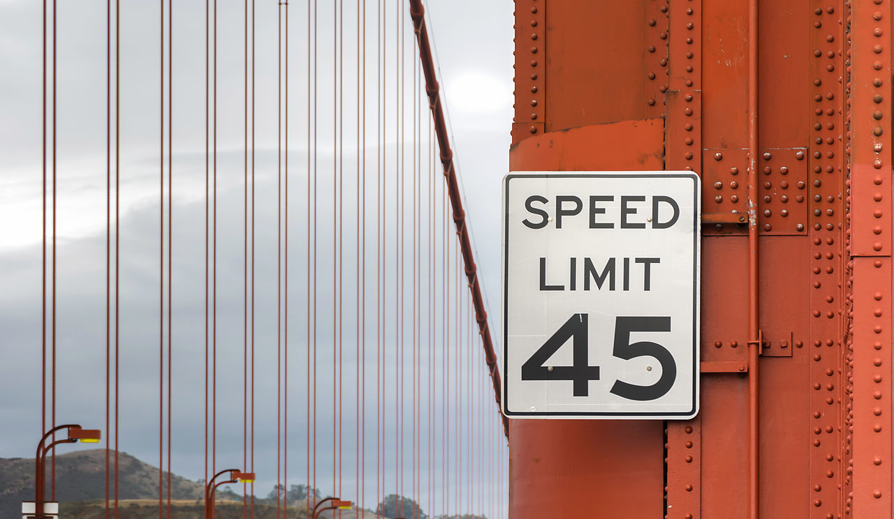 45 Architecture Cable Close-up Day Eye4photography  EyeEm Best Shots EyeEm Gallery Golden Gate Bridge No People Outdoors Red San Francisco Sign Speed Speed Limit Sign Street Sign Tower Traveling Home For The Holidays
