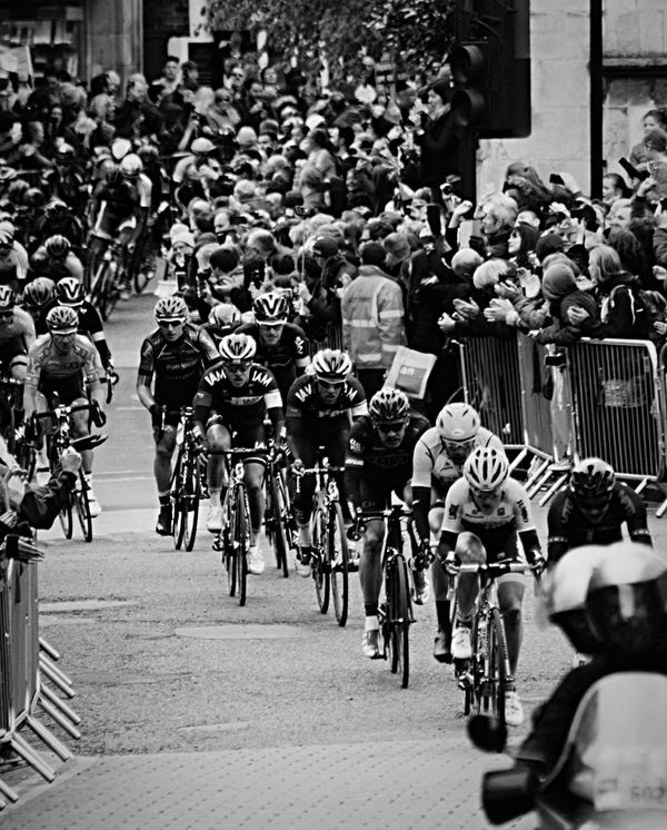 Blackandwhite Monochrome Tour De Yorkshire York North Yorkshire Peloton Cycle Racing Pavement