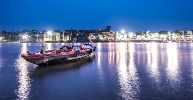 Architecture Boat City Illuminated Night Reflection River Tranquil Scene Varanasi, India Ganges, Indian Lifestyle And Culture, Bathing In The Ganges, Water