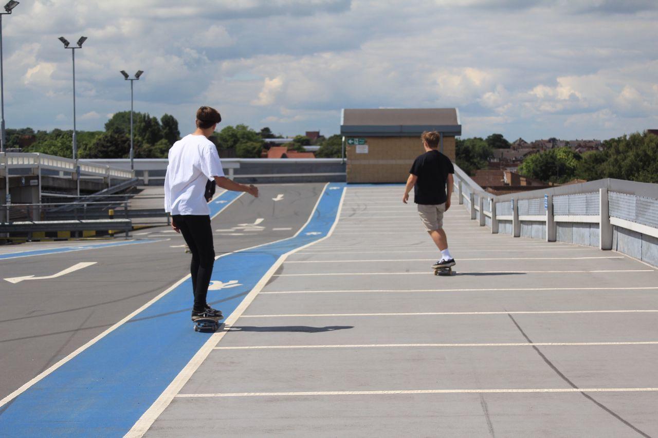Skateboarding Skatefast Carpark Cloud - Sky Leisure Activity Men Day Outdoors City Life Person