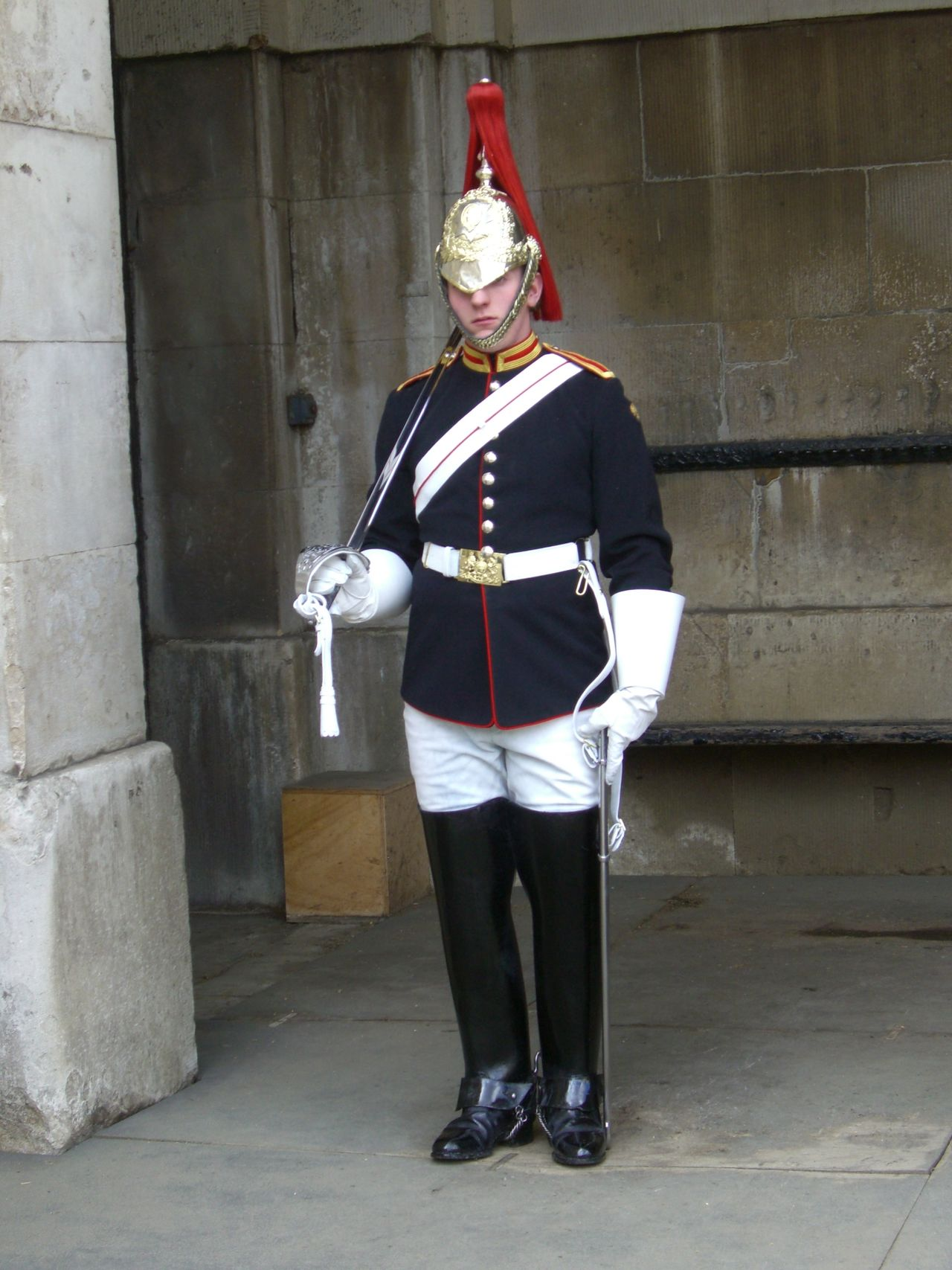 Household Cavalry Cavalry Cavalry Soldier Composition Famous Place Full Frame Full Length GB Guard Helmet London No Incidental People One Man Only Outdoor Photography Soldier Standing Sword Tourist Attraction  Tourist Destination Traditional Uk Uniform
