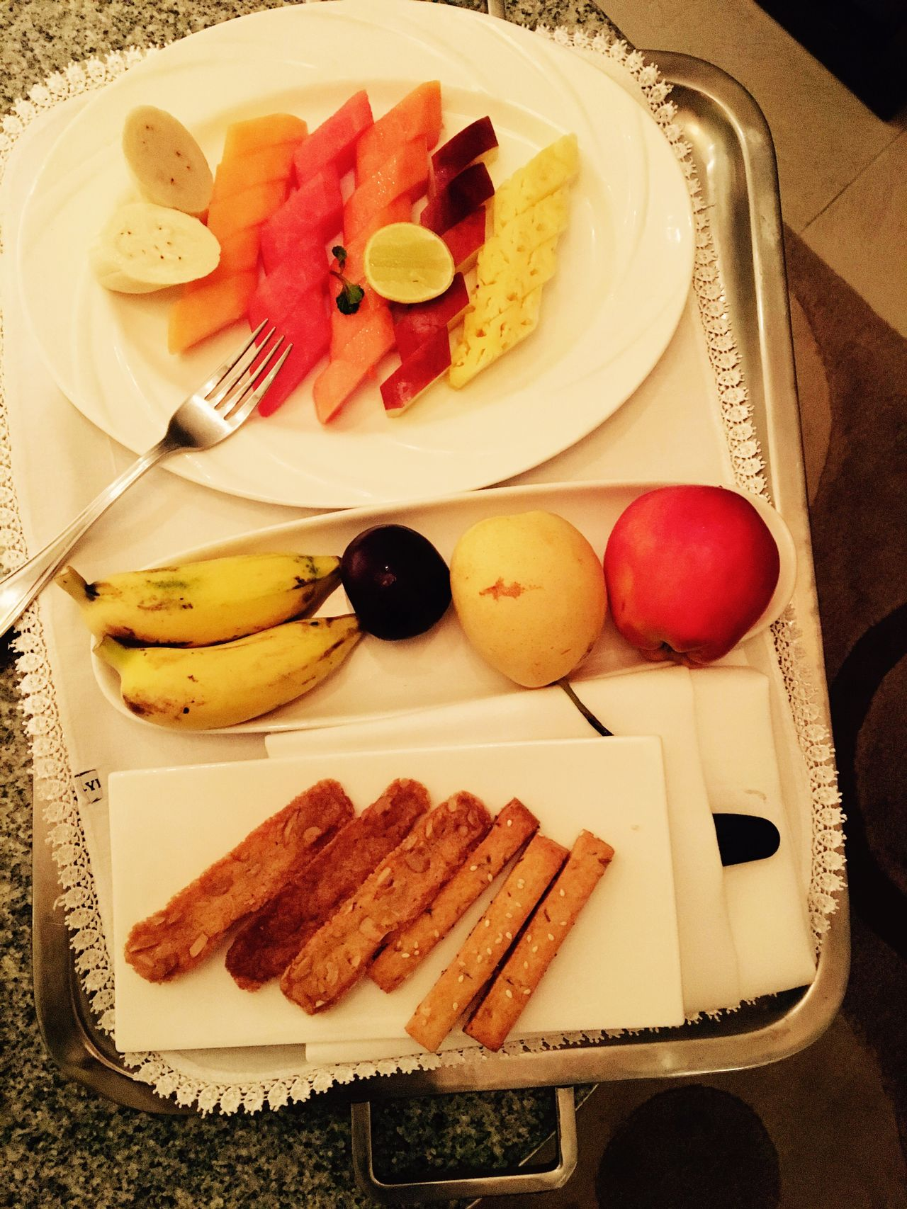 Food Food And Drink Plate Freshness Fruit Fork High Angle View Indoors  Healthy Eating SLICE Table Sweet Food Serving Size Ready-to-eat No People