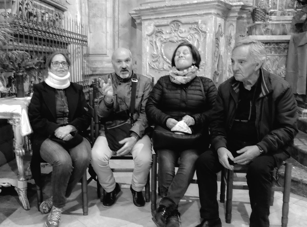 "SICILY 2016 - Series waiting for Saint George at the Saint George Cathedral of Modica ""Wait, it's reeeeally worth it"" they said. Well, I didn't. But they were beautiful people. Procession The Street Photographer - 2016 EyeEm Awards Streetphotography Streetphoto Black And White Collection  Street Photography Bnw Photography Streetphotographer Black And White Photography Sicily, Italy"