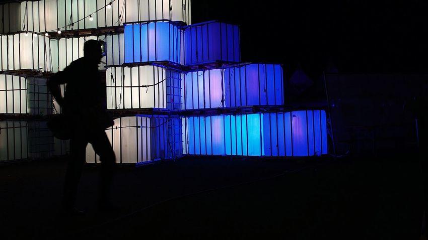 Smoking Silhouette Walking NightSnaps Light Cube Cubes & Light Outdoors Dark Blue Full Length Night Illuminated Person Outline Jardin Du Plaisir Part Of Zürifäscht 2016 Impressions |1|