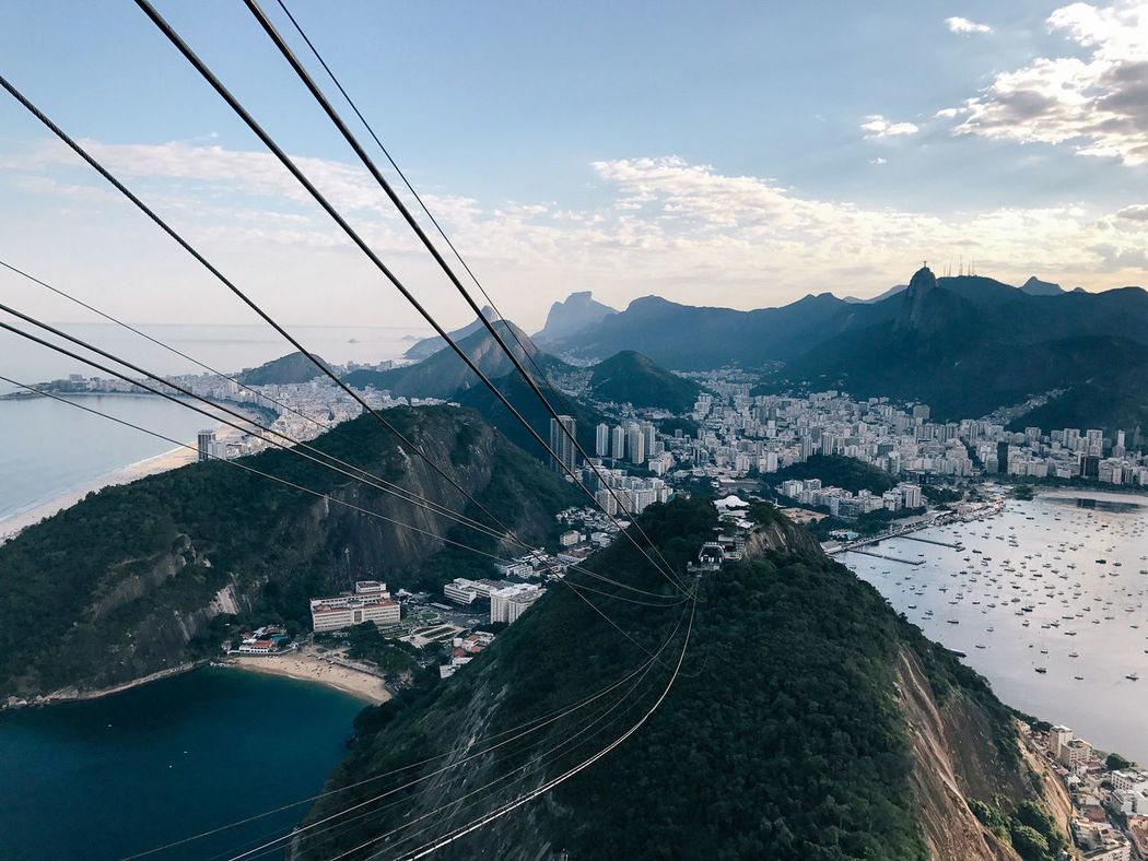 Beauty In Nature Cable Cityscape Mountain Mountain Range Nautical Vessel Outdoors Rio De Janeiro River Scenics Sky Sugarloaf Sugarloafmountain Water