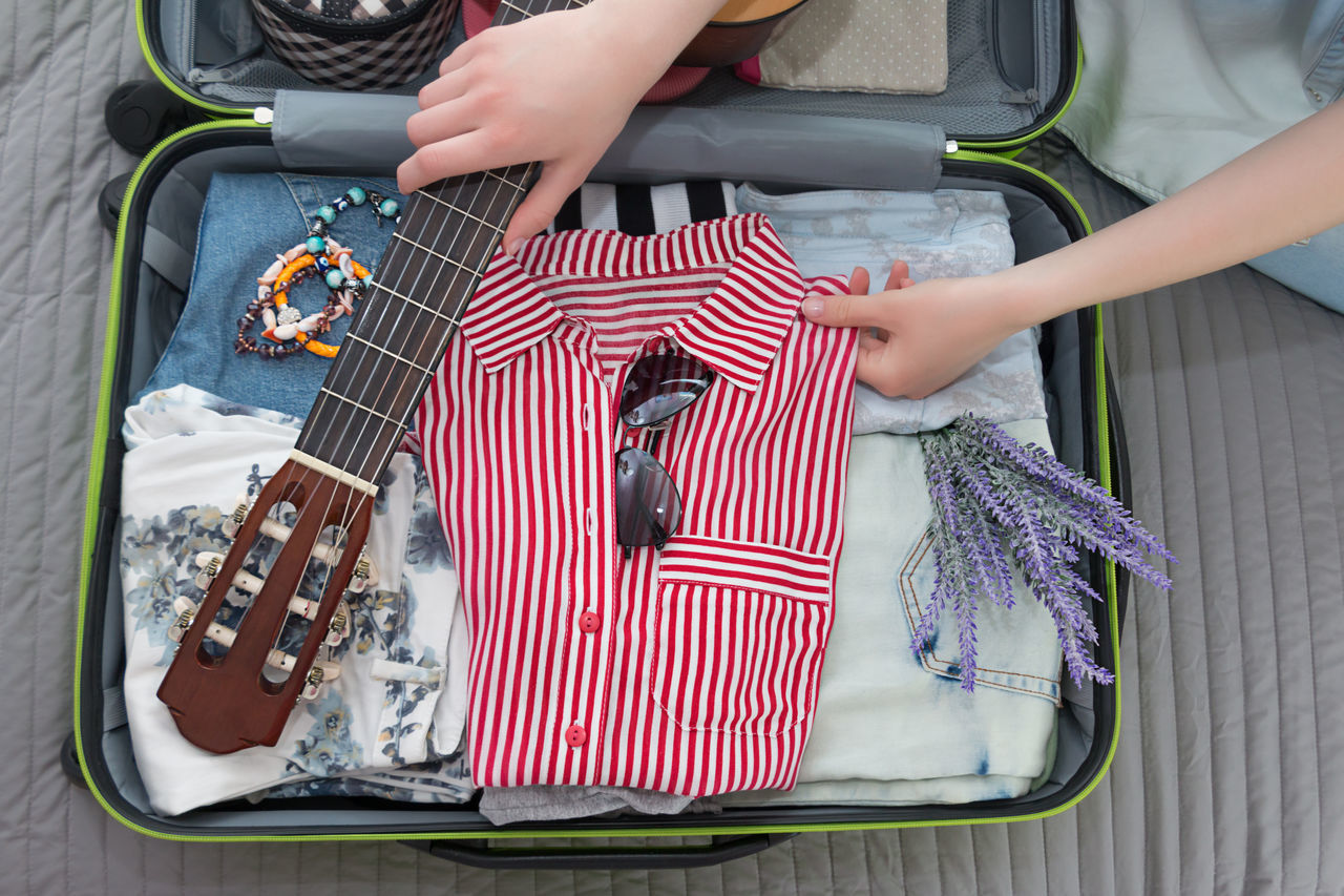 Overhead Top View Flat Lay Travel Suitcase Tourism Packing Bag Trip Sunglasses Flowers Girl Voyage Guitar Music Hiking Summer Time  Rest Vacation Pack