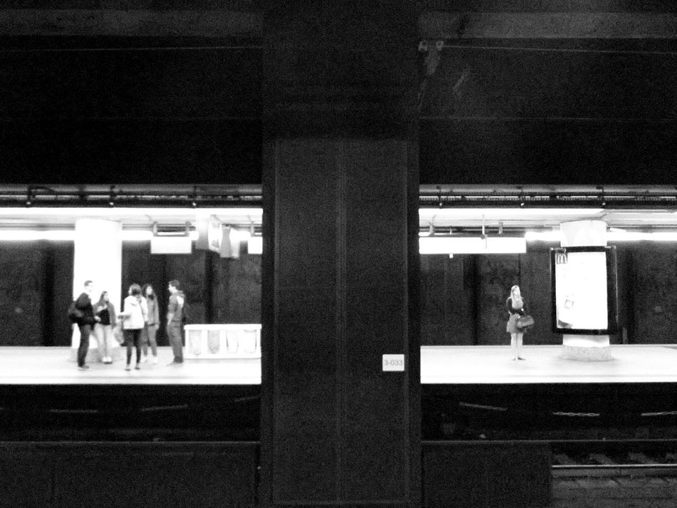 Notes From the Underground. Transportation Men Travel Indoors  Women Built Structure Full Length Illuminated Architecture Day People Underground Bnw Black And White