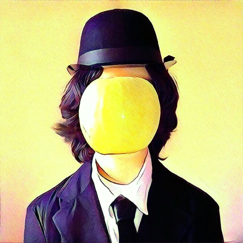 Magritte Magritte Tribute Magritteinspired Le Petit-fils De L'homme Le Fils De L'homme Pomme Apple GreenApple Hat One Person Having Fun Covered Face The Portraitist - 2017 EyeEm Awards