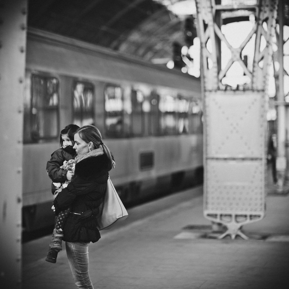 Sad Goodbye 85mm B&w B&w Street Photography Blackandwhite Casual Clothing Czech Republic Focus On Foreground Good Bye Goodbye Leaving Lifestyles Mother & Daughter People Prague Prague Czech Republic Praha Real People Standing Station Train Train Station Young Adult Young Women
