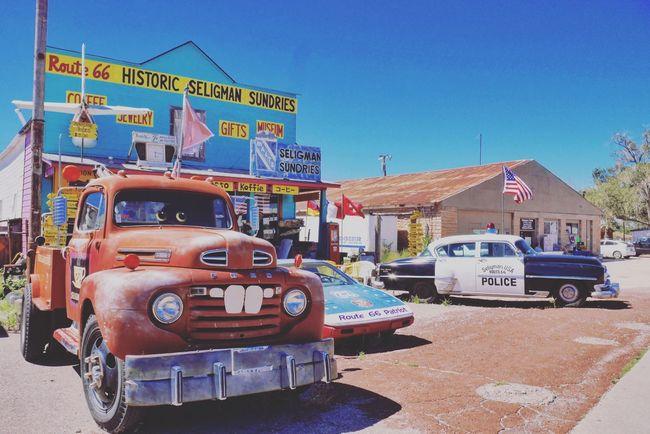 USA Seligman Route 66 AZ Seligman Old Cars