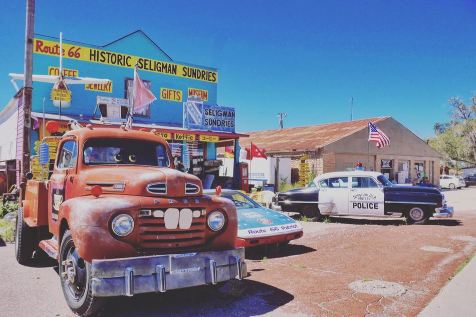 USA Seligman Route 66 AZ Seligman Old Cars