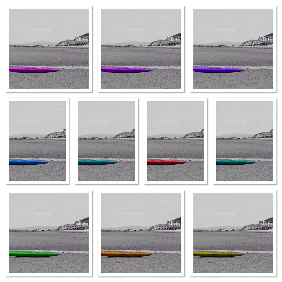 Canoe Collage Colours Sea Sky Shore Multi Colored Multicolored Beach Scene  Playing With Effects Playing With Colours Playing With Colors Playing With Colours😊 Canoe On Beach Empty No People