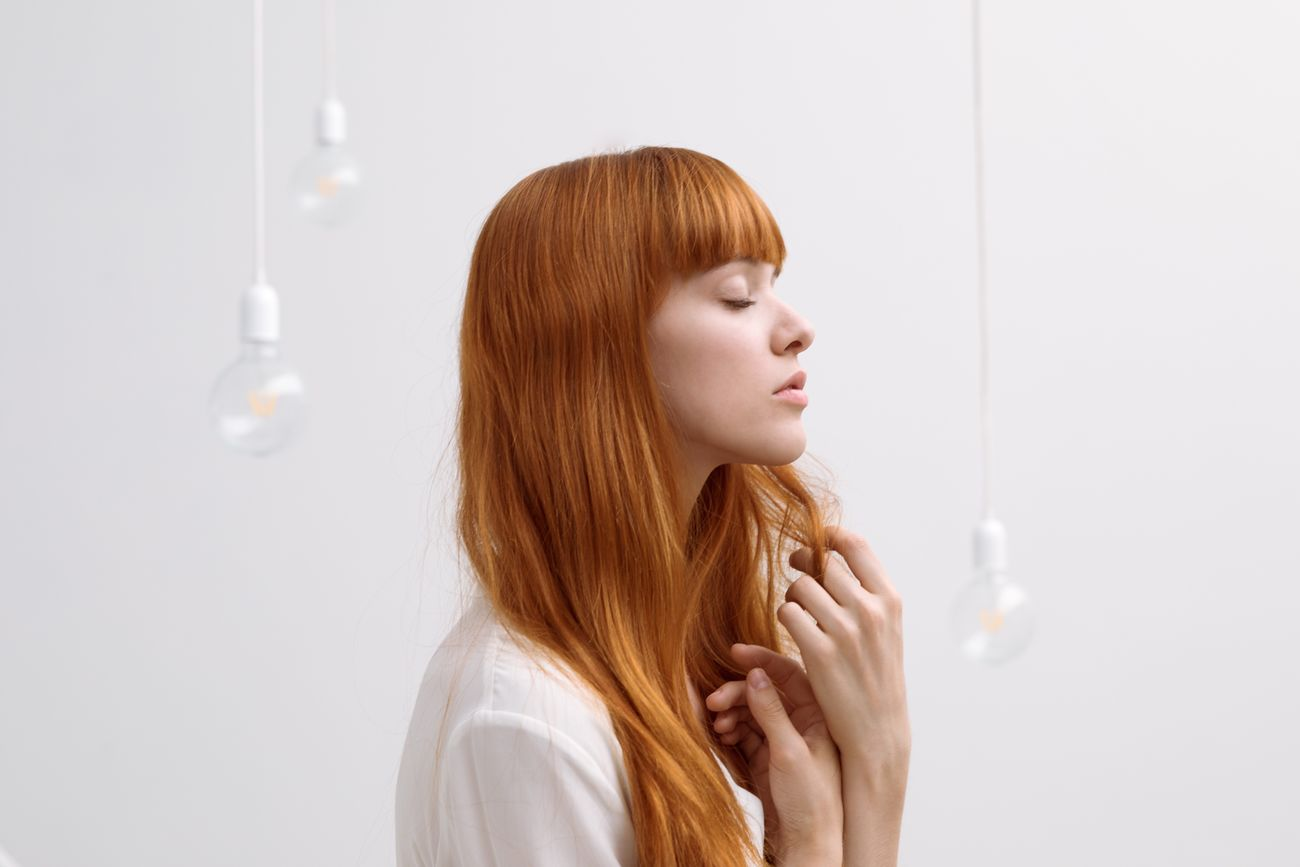 Francesca and the magic bulbs. One Person Young Adult Long Hair Portrait Portrait Of A Woman The Portraitist - 2017 EyeEm Awards Italy EyeEm Gallery EyeEmNewHere EyeEm Best Shots Red Hair Redhead bulbs. EyeEmNewHere