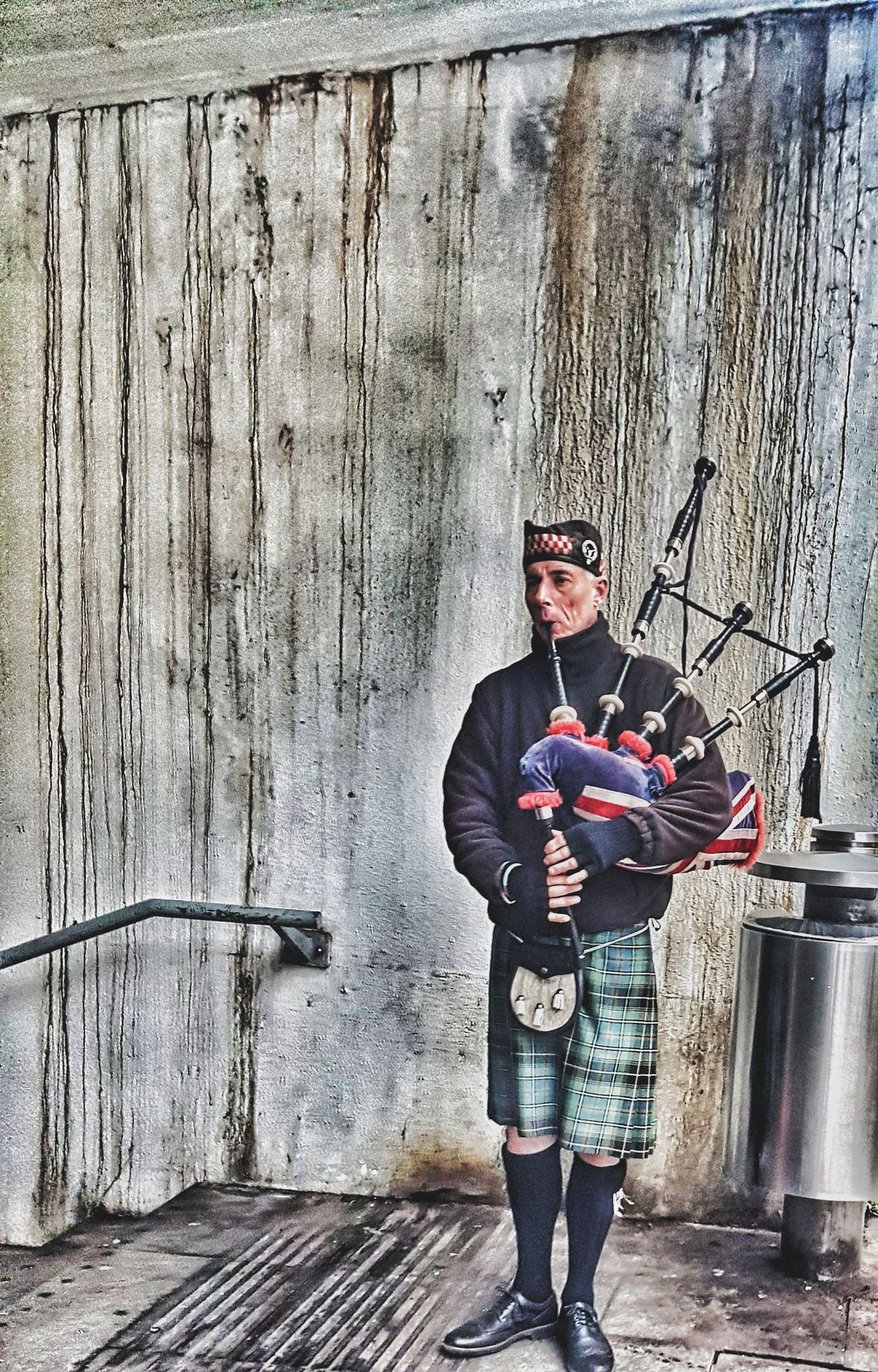 Pipes of peace. One Person Music Outdoors One Man Only Standing Men Musical Instrument Bagpiper Bagpipes Veteran Underpass Emotions Captured