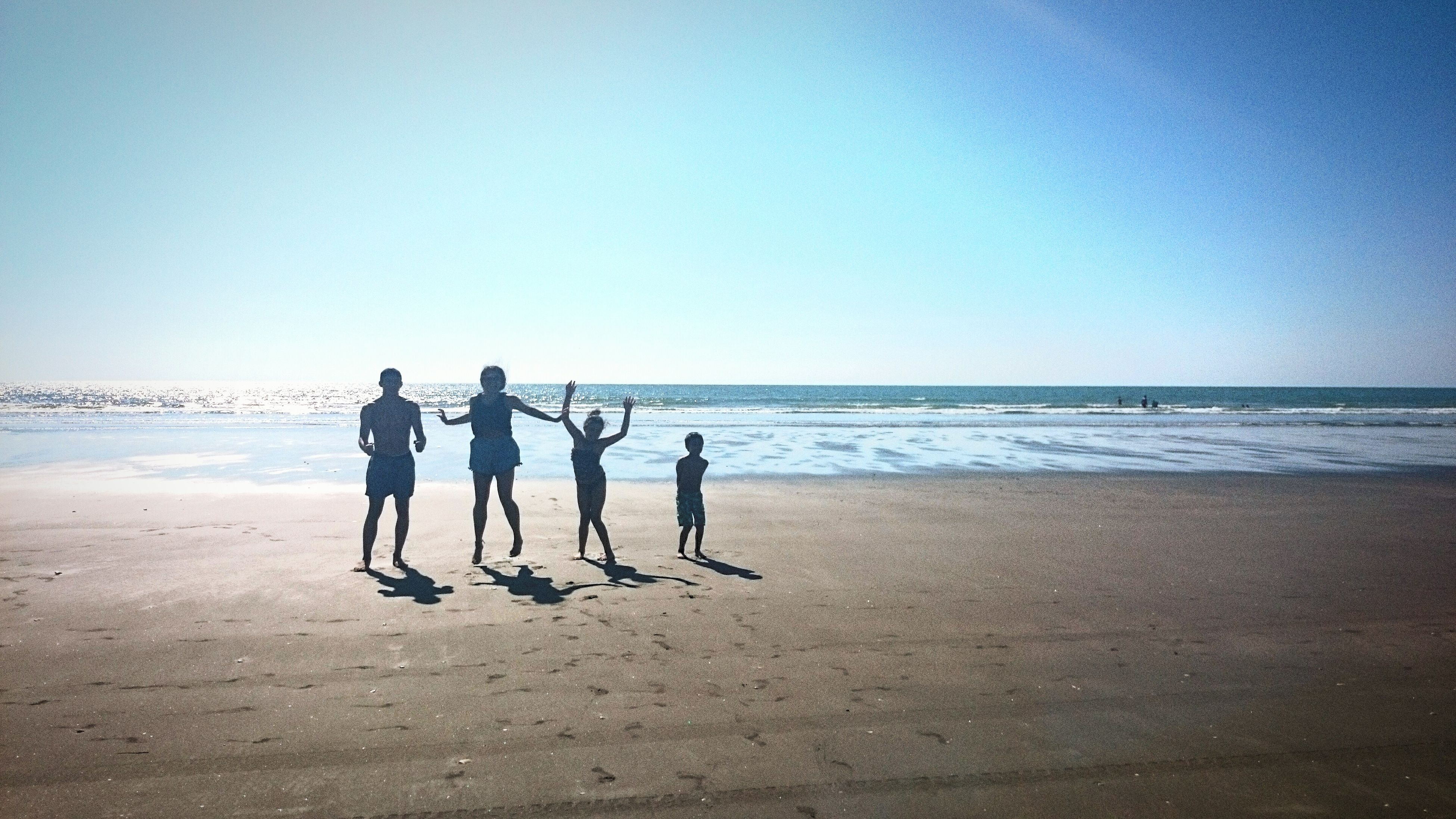 beach, sea, horizon over water, shore, water, sand, leisure activity, clear sky, lifestyles, full length, copy space, vacations, togetherness, men, walking, wave, person, standing
