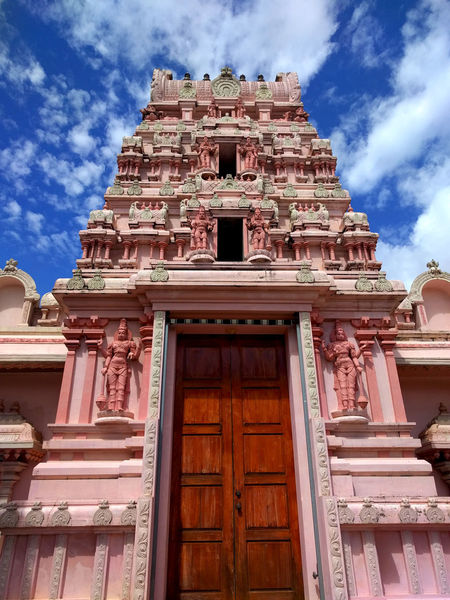 Outside Chaguanas, Trinidad and Tobago Architecture Building Exterior Built Structure Caribbean City Cloud - Sky Day Hindu Hinduism History Indian Low Angle View No People Outdoors Pediment Pink Sky Temple Travel Destinations Trinidad And Tobago