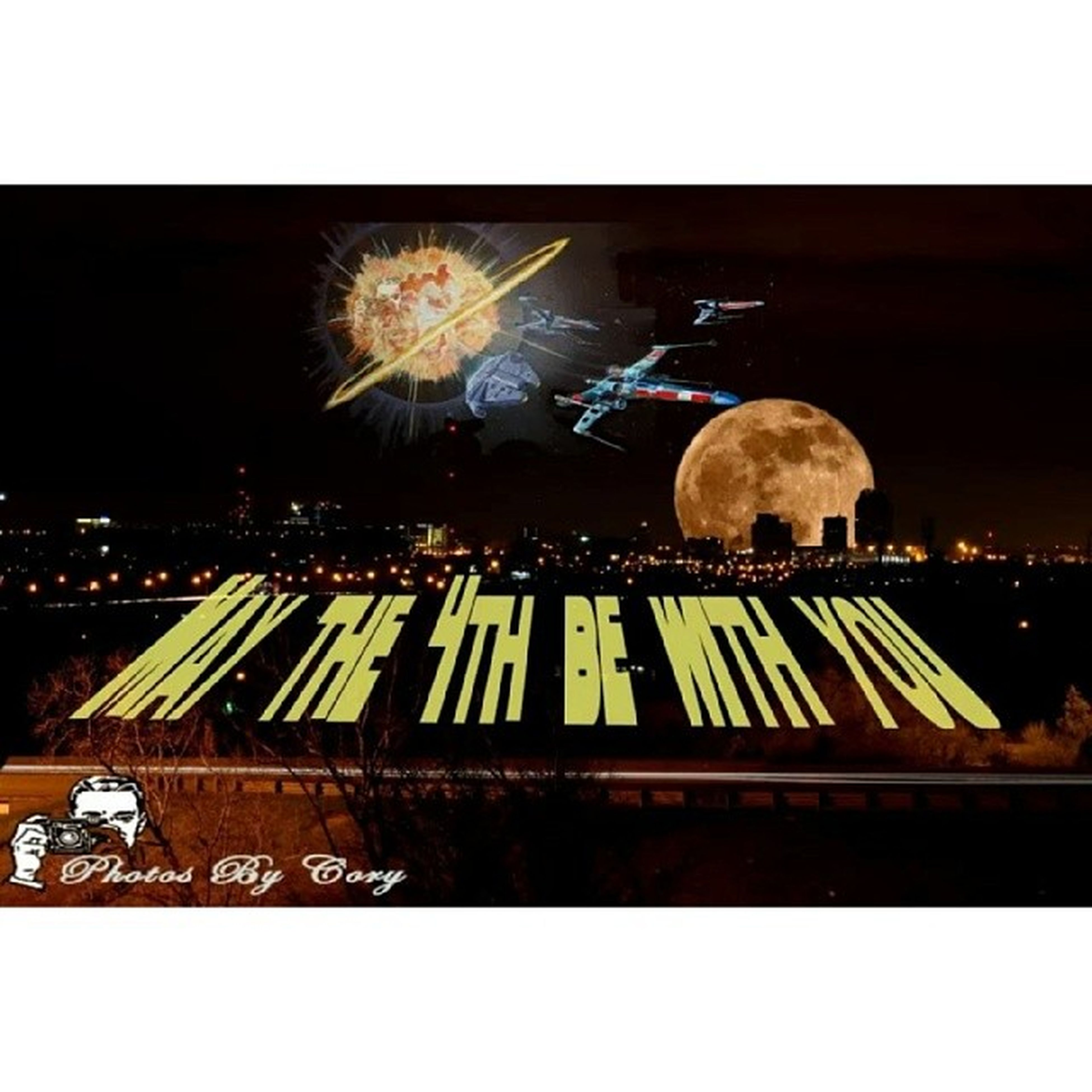 transfer print, night, illuminated, auto post production filter, arts culture and entertainment, celebration, building exterior, outdoors, built structure, text, architecture, people, city, motion, sky, western script, clear sky, light - natural phenomenon, copy space